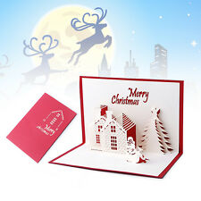 Snowman Christmas Tree Handmade 3D Pop Up Holiday Greeting Cards Christmas Gifts
