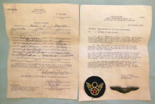 More details for original ww2 usaaf 490th bombardment gr. silver wings & patch to 1st lt kinzler