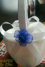 Royal blue & ivory Flowergirl Basket