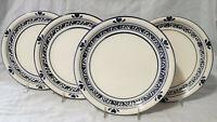 "TIENSHAN (4) Dinner Plates FOLK HEARTS 10-7/8"" spongeware country crock BLUE"