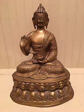 "Vintage LARGE HEAVY Brass Hindu Buddha Statue Figure heavy 17.5"" Tall"