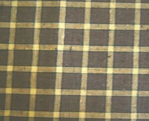 """Over 2 Yards Brown Tan Plaid Checked Linen Fabric 90"""" X 36"""""""