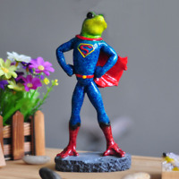 """8.3"""" Green Resin Super Hero Wear A Red Cloak Frog With Glove Statue Home Decor"""