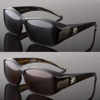 POLARIZED Cover Put Fit over Sunglasses wear Rx glass Fit Driving Brown or Black