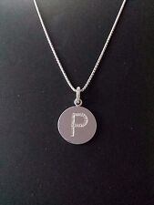 """Brand New Diamond """"P"""" Initial Pendant, Sterling Silver (.09 CT. T.W.)"""