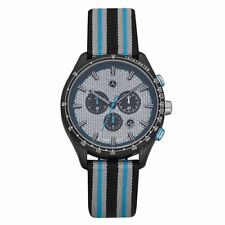 Mercedes Benz Hombre Reloj Cronómetro Azul Plateado Carbono B67995428 Nuevo