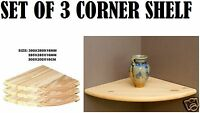 Set Of 3 Natural Wood Corner Shelf Wall Mounted Storage Wooden Unit Shelves Kit