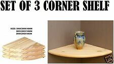 Set of 3 Natural Wood Corner Shelf Wall Mounted Storage Wooden Unit Shelves Kit 200x200x16mm