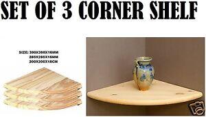 Set Of 3 Natural Wood Corner Shelf Wall Mounted Storage Wooden Unit Shelves Kit