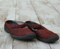 CLARKS Women Size 10.5 Comfort Slip-On Shoes Flat Burgundy Suede