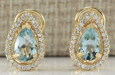 2.83 Carat Natural Aquamarine 14K Yellow Gold Diamond Earrings