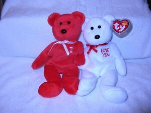 TY Beanie Baby,  I LOVE YOU the Bears set of 2, 9.5 inch RARE    Value at $27.99