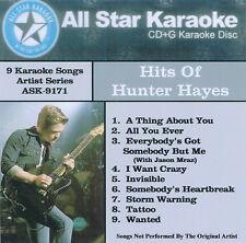 Hunter Hayes 9 Karaoke Songs, Tattoo,Storm Warning,I Want Crazy,Wanted,Invisible