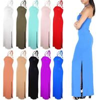 Womens Long Side Split Bodycon Backless Ladies Ring Halter Neck Maxi Dress 8-22