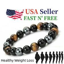 Energy Healing Stretch Bracelet Triple Natural Stone Hematite Tiger Eye Obsidian