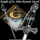 Templar Knight of St. John Crusader Mason Masonic Sword Black Handle with Chain