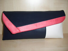 NAVY BLUE, CORAL & WHITE  faux leather asymmetrical clutch bag, made in the UK