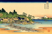 Repro Japanese Woodblock Print by Hokusai 'Enoshima in the Segami Rovince'