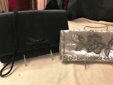 Vintage 1960S Bonsoir White Satin & Black Satin Beaded Evening Bags 2 Mint Cond.