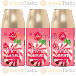 3 X GLADE AUTOMATIC SPRAY OFFICE AIR FRESHENER FROSTED CANDY CANE REFILLS 269ML