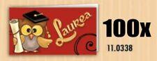 100 PZ Bigliettini bigliettino bomboniera LAUREA con gufo gufetto tocco