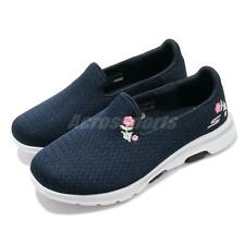 Skechers Go Walk 5-Garland Wide Navy White Floral Women Casual Shoes 124002W-NVW