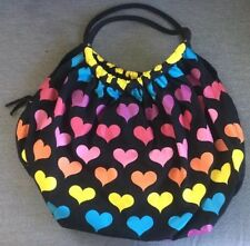 Retro 1980's Style Rainbow Heart Satchel Shoulder Bag, Large Bag, Pre-owned