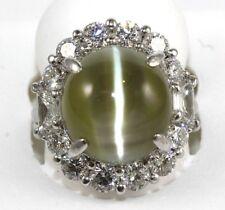 Natural Green Cat Eye Chrysoberyl & Diamond Cocktail Ring Platinum 18.83Ct