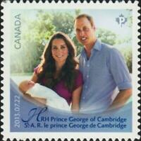 2013 Canada Post 📭 👑 HRH GEORGE 👑 Single MNH from booklet 📫 Scott # 2485