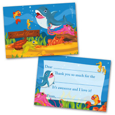10 Kids Thank You Cards Under The Sea Themed and 10 Envelopes
