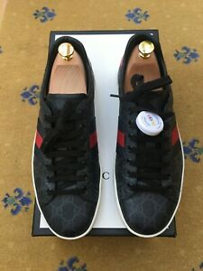 Gucci Mens Trainers Sneaker Shoes Black Canvas Ace UK 8 US 9 EU 42 Web Blue Red