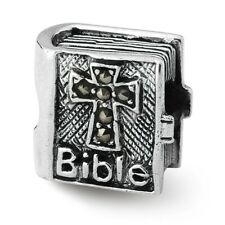 Marcasite Cross Bible Bead .925 Sterling Silver Antique Reflection Beads