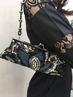 Black Handbag Beaded Silver & Gold Strap Metal Snap Closure Good Con