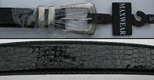 Maxwear Black Patent Leather Snakeskin Print Belt - 30 -32 Inches