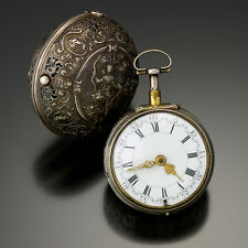 Rare Antique Quarter Hour Repeater Pocket Watch Repousse Silver Pair Case Jodin