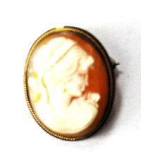 900 Fine Silver Antique Shell Carved Cameo Brooch Pendant 21 x 27mm Gold Wire