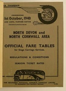 SOUTHERN NATIONAL 1st OCTOBER 1940 ~ OFFICIAL FARE TABLES BOUND BOOKLET