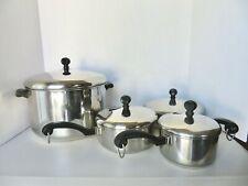 """Vintage 8 Pc Faberware Aluminum Stainless Steel Pots/Pans 1,1.5, 8 QT & 8"""" Fry"""