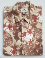 Solitude Mens Island Palm print Button Shirt (Large) 100% Cotton short sleeve