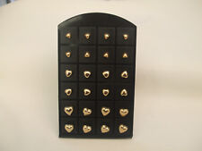3 Pairs Gold Coloured Heart Stud Earrings 3 Sizes, 1 Pair Of Each Size New