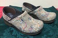 Women's Dansko Felt Pro Mule Floral Pattern Clogs Shoes Size 38 7.5-8 EUC