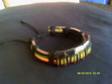 Bob Marley Print,  Rasta Leather Wrist Cuff  Bracelet....JAH LOVE