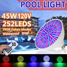 45W 252 LED RGB Underwater Swimming Pool Light Lamp 120V + Remote Control IP68