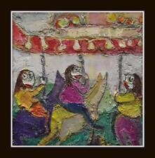 "Purple Horses : Superb Original Impasto Oil Painting by Jo Hodgen 8"" X 8"""