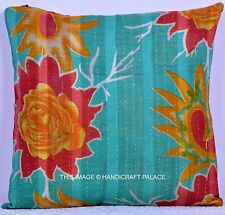 "Indian Reversible Vintage Kantha Work Cushion Cover Cotton Pillow Sham Decor 16"""