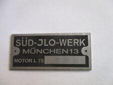 Plaque Signalétique OIT Id-plate Bouclier Sud JLO usine Munich type l75 L 75 s31