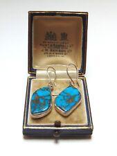 Beautiful Elegant Turquoise Hallmarked 925 Sterling Silver Hook Dangle Earrings