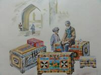 Old watercolour, picture, Middle Easten market, portrait of a man, signed