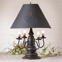 3-Way COLONIAL TABLE LAMP with Punched Tin Shade - Distressed Black Finish USA
