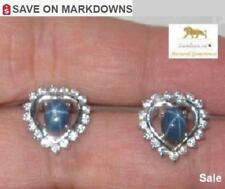 2.8 ct Natural Star Sapphire Heart Silver Earrings #